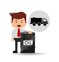 Businessman oil industry truck transpsort vector