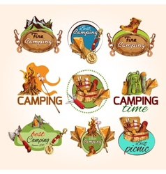 Camping sketch emblems vector