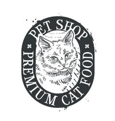 Cat food logo design template kitten or vector