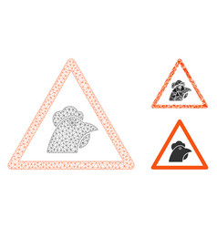 Chicken warning mesh wire frame model and vector