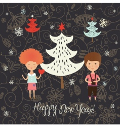 Christmas card with kids vector image vector image