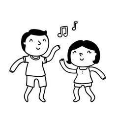 cute cartoon couple dancing and having fun vector image