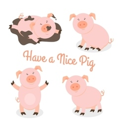 Cute happy cartoon pigs set vector