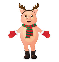 cute pig with deer horns cartoon character vector image