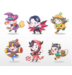 cute style set of children in halloween costume vector image