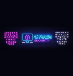 Cyber security neon signboard internet vector