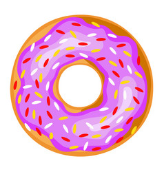donut icon baked glazed doughnut with frosting vector image