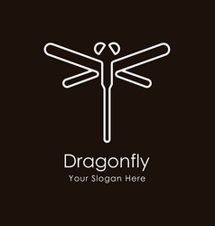 dragonfly luxury and minimalist logo template vector image