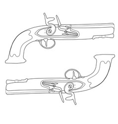 Dueling pistols of the 18th century vector