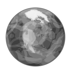 Earth icon in monochrome style isolated on white vector image