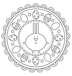 Easter rabbit coloring page eggs vector