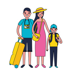 family travelers tourist baggage vector image