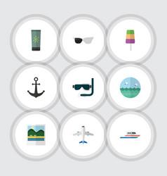 Flat icon season set of ship hook moisturizer vector