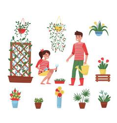 flat set of garden elements different vector image