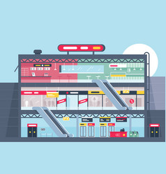 Flat shopping center section with clothing shop vector