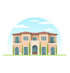 Frontview mediterranean style suburban private vector