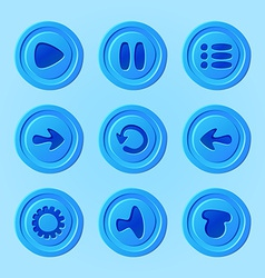 game ui - set blue buttons for mobile game or app vector image