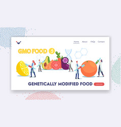 Genetically modified food landing page template vector
