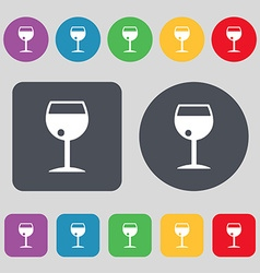 Glass of wine icon sign A set of 12 colored vector