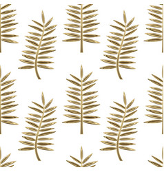 golden palm leaves seamless pattern vector image