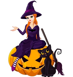 Halloween Witch on pumpkin vector image
