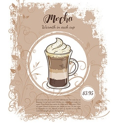 Hand drawn drinks menu pages with cup mocha vector