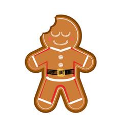 Happy bitten gingerman cookie vector
