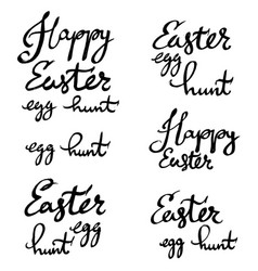 Happy easter egg hunt strokes lettering written vector