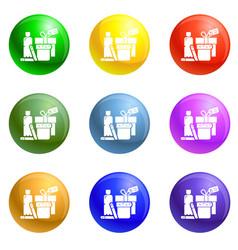 Homeless food help icons set vector