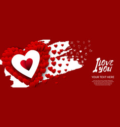 I love you with big red heart white brush on red vector