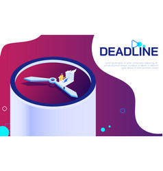 isometric deadline time is running out concept vector image