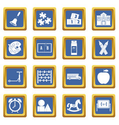 Kindergarten symbol icons set blue vector