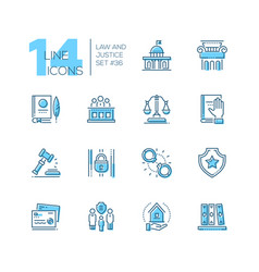 law and justice - set of line design style icons vector image