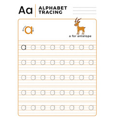 Letter a alphabet tracing book with example and vector