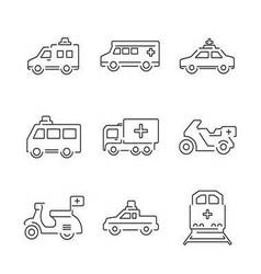 Line Icons Medical Ambulance car and train set ico vector