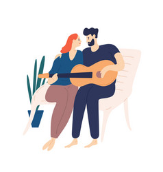 lovely couple sitting on bench and playing guitar vector image