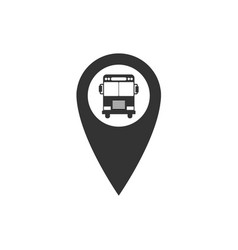map pointer with bus icon isolated flat design vector image