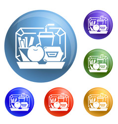 mix lunchbox icons set vector image