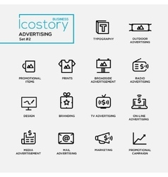 Modern advertising simple thin line design icons vector image