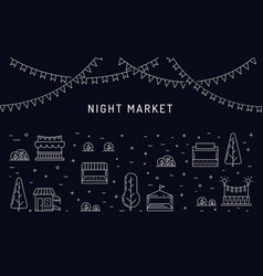 Night market open air outdoor summer fest vector