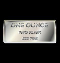 One ounce silver ingot vector
