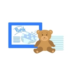 Pack Of Diapers And Teddy Bear vector image