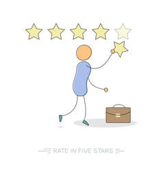 Rate in five stars vector