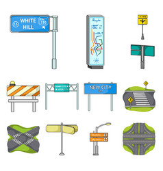 road junctions and signs cartoon icons in set vector image