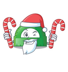 santa with candy protractor isolated in the a vector image