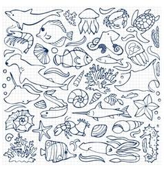 Sea doodle set vector