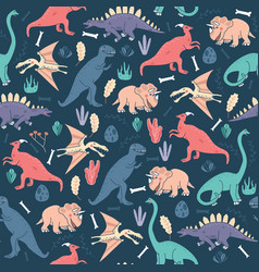 Seamless pattern dinosaurs dark background cute vector