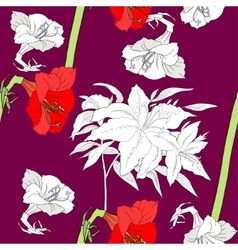 Seamless pattern with amaryllis and flowers vector