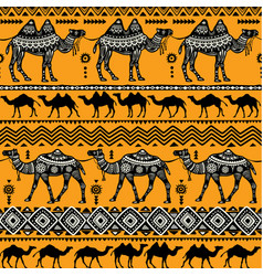 seamless pattern with camels vector image