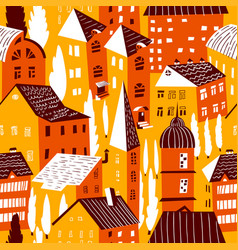 Seamless pattern with houses cute city vector